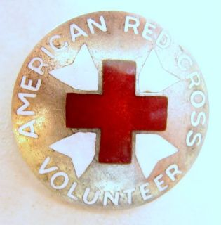 Vintage U s American Red Cross Volunteer Arc Silver Insignia Pin WWII