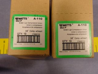 20 Watts A 110 962 P Brass Ander Lign Compression Union 3 8 Comp w