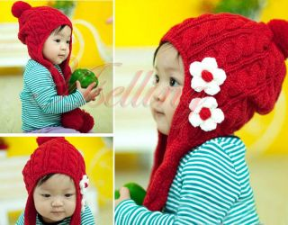 Fashion Flower Cute Knit Style Baby Girl Toddler Crochet Handmade