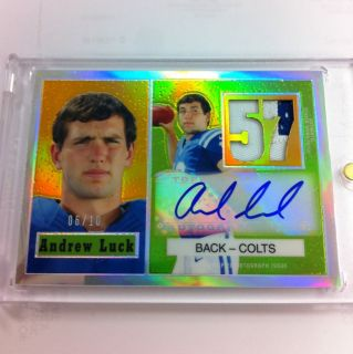 Andrew Luck 2012 Topps Chrome Jersey Patch Auto 1957 Retro RC D 6 10