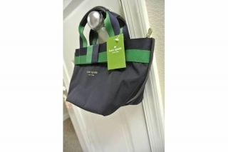 Spade Barrow Street Mini Anabel Navy Green Tote Bag PXRU1506