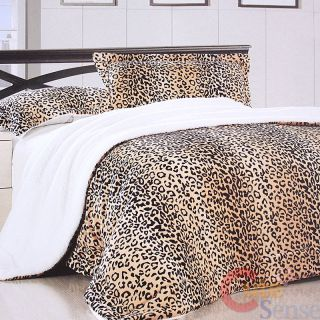 Leopard Print Faux Fur Bedspread Pillow Bedding Blanket 1