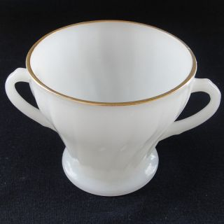 Anchor Hocking Fire King Milk Glass Sugar Bowl Gold Rim