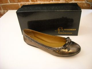 Makowsky Tori PEWTER Leather Chain Detail BALLET FLATS NEW