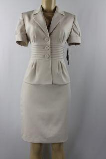 Anne Klein Women Skirt Suit Casa Blanca Skirt Jacket Set Beige Size
