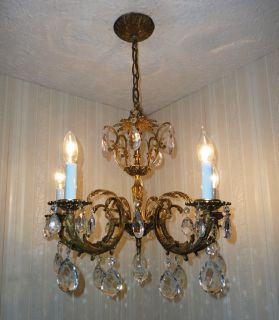 EXQUISITE FRENCH ANTIQUE BRASS BRONZE CRYSTAL CHANDELIER LIGHT