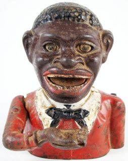 Antique Jolly Nigger Black Americana Cast Iron Mechanical Coin Bank