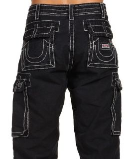 True Religion Brand Jeans Men Anthony Cargo Pants Faded Black