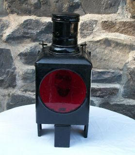 RARE ANTIQUE WWII GERMAN RAILROAD LANTERN, W/KOSMOS BRENNER TANK AND