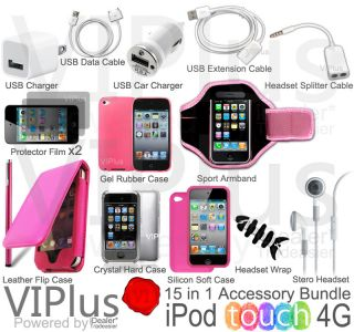 Bundle Kit for Apple iPod Touch 4th Gen Leather Case Flip Pink