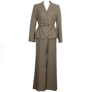 Anne Klein Taupe Belted Flared Pant Suit 14