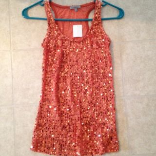 Charlotte Russe Orange Sequin Tank Top Size Small