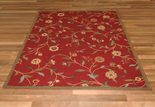SKID FLORAL GARDEN RED 33 X 5 (FITS 4 X 6 AREA) AREA RUG   CARPET