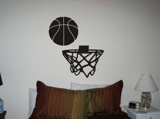 Basketball with Goal Net Vinyl Wall Art Decal Stickers
