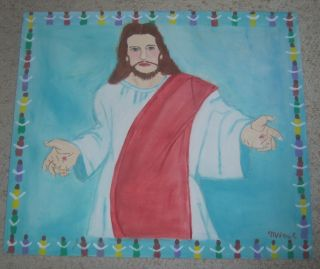 Original MYRTICE WEST Folk Art Painting of JESUS Visionary Art 28x24