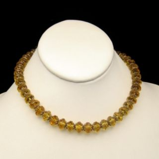 ART DECO Vintage Necklace Large CZECH Crystal Yellow Glass Beads