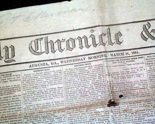 Rare CONFEDERATE Augusta GA Georgia 1864 Civil War Newspaper
