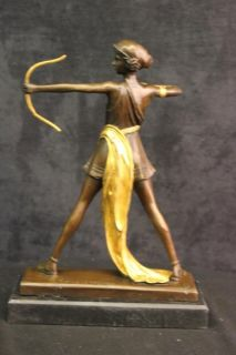 DIANA ARTEMIS THE HUNTRESS GREEK ROMAN GODDESS 100% BRONZE STATUE ON