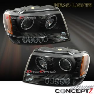 Grand Cherokee Dual Halo Rims Projector Headlights Black Style