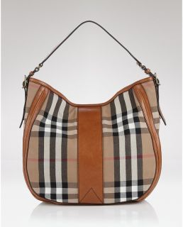 Burberry Vintage House Nova Check Ashwood Hobo Leather Bag Tote Purse