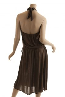 BCBG Max Azria Brown Crochet Halter Dress New Size S
