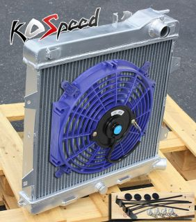 MT Manual Dual Core 2 Row Aluminum Racing Radiator 12 Blue Fan