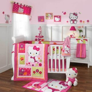 Lambs Ivy 7 Piece Baby Crib Bedding Set Hello Kitty Garden Includes