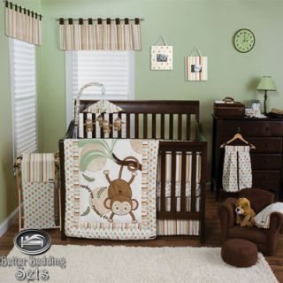 Baby Boy Girl Neutral Kid Monkey for Crib Nursery Theme Bed Linen
