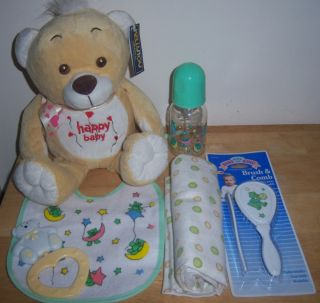 Baby Shower Bear Gift Set Diaper Cakes Bottle Brush Bib Blanket Rattle