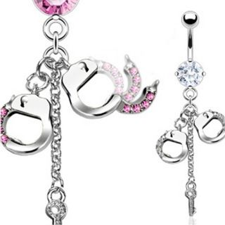 Gem Handcuffs Chain Key CZ Belly Navel Ring Dangle Button Piercing