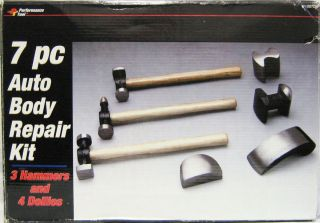 Performance Tool 7 pc Auto Body Repair Kit W1007DB 3 Hammers 4 Dollies