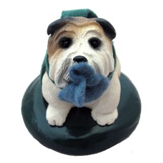 BYERS CHOICE CAROLERS CHRISTMAS DOG WITH GREEN SCARF PATCH OF BLUE IN