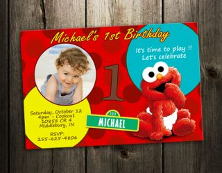 baby elmo SESAME STREET PARTY INVITATION BIRTHDAY card CUSTOM INVITE