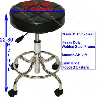 Extra Large Deluxe Air Lift Technician Stool with Welded Steel