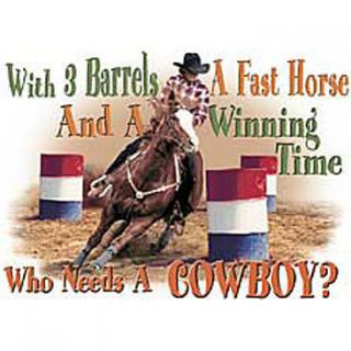 Barrel Racing Tshirt with 3 Barrels A Fast Horse Winning Time Who