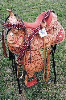 Zabh Western Barrel Racing Trail Saddle w Bridle Breast Collar Set