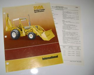 IH International 250A Tractor Loader Backhoe Spec Sheet Brochure Price