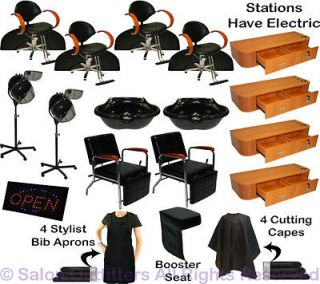 Hydraulic Barber Chair Station Shampoo Bowl Hair Dryer Beauty Salon