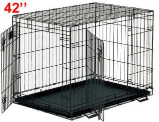 newly listed foldable folding wire dog cage pet crate 42