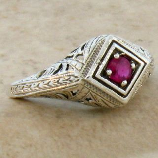 ANTIQUE ART DECO DESIGN NATURAL RUBY .925 STERLING SILVER RING SIZE 10