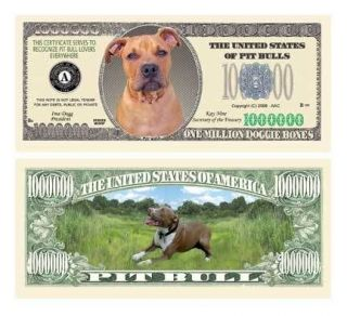 pit bull terrier puppy dog novelty one million dollar bill