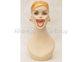 Female Fiberglass Mannequin Head Bust Vintage Style Wig Hat Jewelry