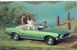 NOS 1969 FORD MUSTANG CONVERTIBLE MINT ORIGINAL FORD MUSTANG POSTCARD