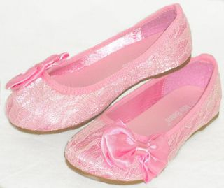 Lace Bow Girls Kids Ballet Flats *Casual/ Pageant Dress Shoes*