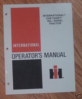 cub cadet 782d diesel eng owners operators manual time left