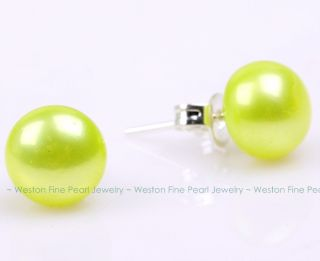 Lime Green Cultured Freshwater Pearl Stud Stick Earring 925 Silver
