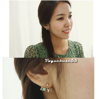 New Korea Style Golden Clear Rhinestone Heart Love Letter Ear Stud