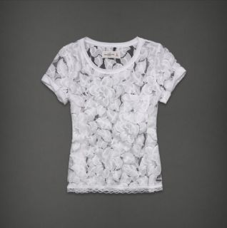 Abercrombie & Fitch Women Sheer Floral Lace Short Sleeve Top Shirt