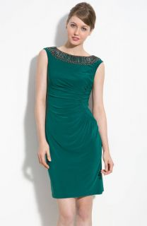 Adrianna Papell Beaded Jersey Sheath Dress Sleeveless Teal Green 16