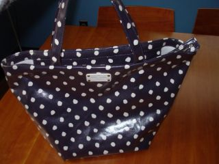 Kate Spade Anabel Dizzy Dot Tote Bag Navy Cream Blue Canvas Purse